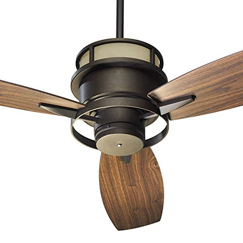 Quorum International 54543-86 Bristol 54-Inch Ceiling Fan, Oiled Bronze Finish with Amber Scavo Up Glass and Walnut Blades ()