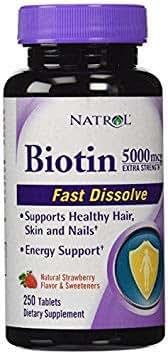 Natrol Biotin Extra Strength 5000 mcg- 2Pack (250 Tablets x 2 Total )