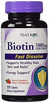 Natrol Biotin 5000 mcg Fast Dissolve Tablets, Strawberry, 250-Count, Extra Strength
