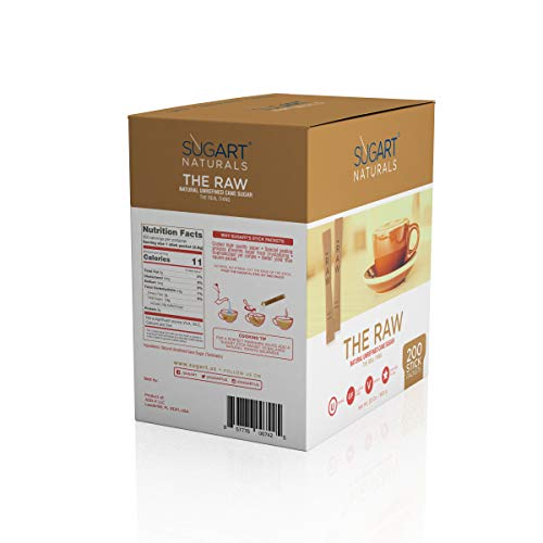SUGART - THE RAW SUGAR - 200 Individual Serving Stick Packets - U Parve/Kosher by SUGART (Image #3)