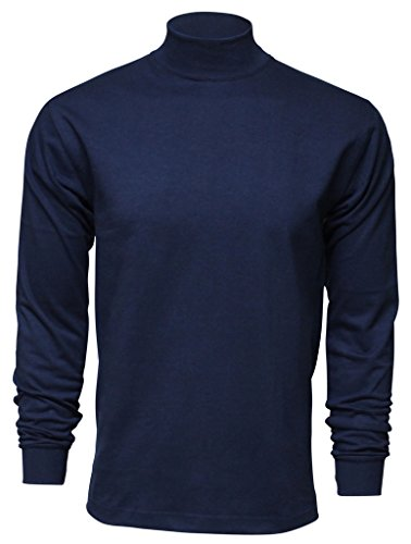 Heavyweight Mock Turtleneck - Enkalda Men's Premium Heavyweight Long Sleeve Mock Neck T-Shirt XL Navy