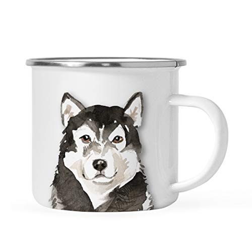 Andaz Press 11oz. Stainless Steel Dog Campfire Coffee Mug Gift, Malamute Up Close, 1-Pack, Pet Animal Camp Camping Enamel Cup Modern Birthday Gift Ideas for Him Her Family