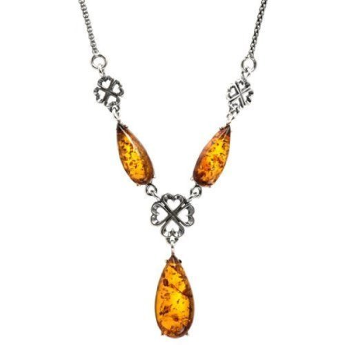 Sterling Silver Honey Amber Celtic Drop Necklace 19 Inches Amber by Graciana 9592