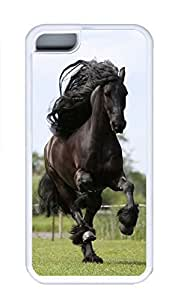 iPhone 5C Case, Personalized Custom Rubber TPU White Case for iphone 5C - Running Black Horse Cover