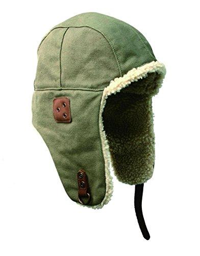 Kakadu Canvas Hat - Kakadu Original- Flying Baron Hat- Aviator Hat with Wool Sherpa Lining Trapper Hunting Cap