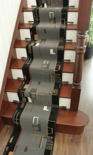 Lima 611 Narrow Grey U0026 Black Retro Border Stair Carpet Runner Rug   50cm  Wide