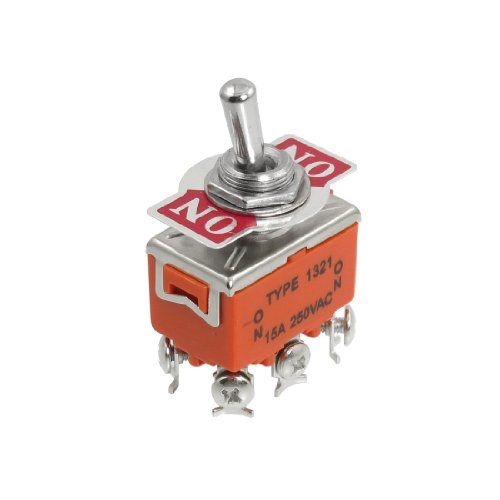 Uxcell a12110900ux0297 Toggle Switch, DPDT On/On 2 Position Latching, AC 250V, 15 Amp - Toggle Switch Max 15 Amps