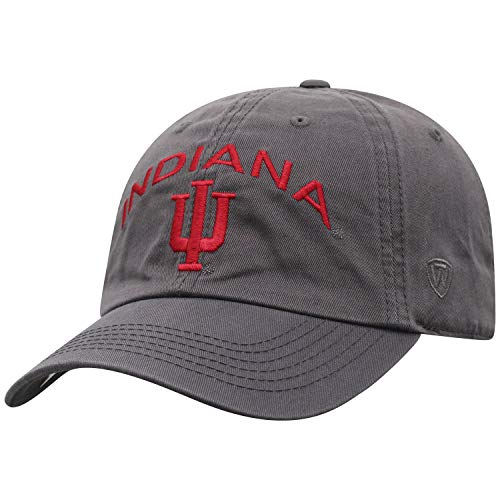 Top of the World NCAA Men's Hat Relaxed Fit Charcoal Arch Adjustable, Indiana Hoosiers