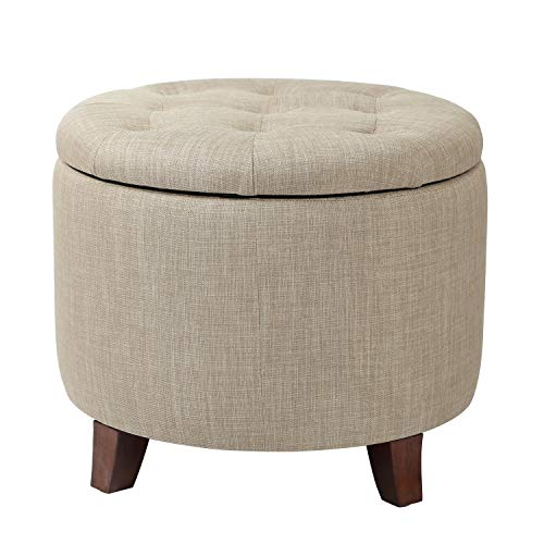 (Adeco FT0043-5 Fabric Cushion Button Tufted Lift Top Storage Footstool, Height 17 Inches Strudy Round Ottomans & Storage Ottomans, Beige)