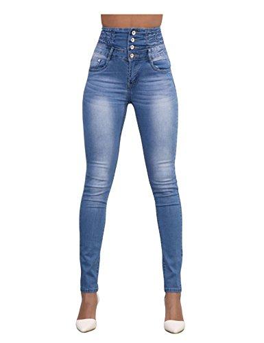 haute Bleu Femme Legou Jeans Medium clair Taille dItIZOnwq