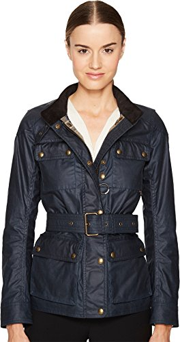 BELSTAFF Women's Roadmaster 2.0 Signature 6 Oz. Wax Cotton Jacket Dark Teal 44 by Belstaff