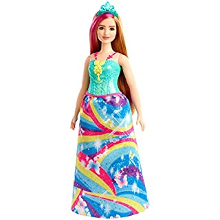 Barbie Dreamtopia Princess Doll, 12-inch, Curvy, Blonde with Pink Hairstreak