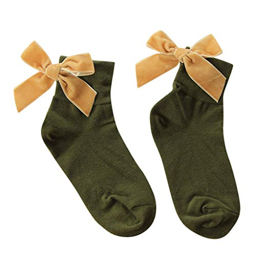 - Women Socks,ONLYTOP Women Ankle Socks Bow, Lovely Double Needle Solid Color Lace Edge Relent Lady Socks Green