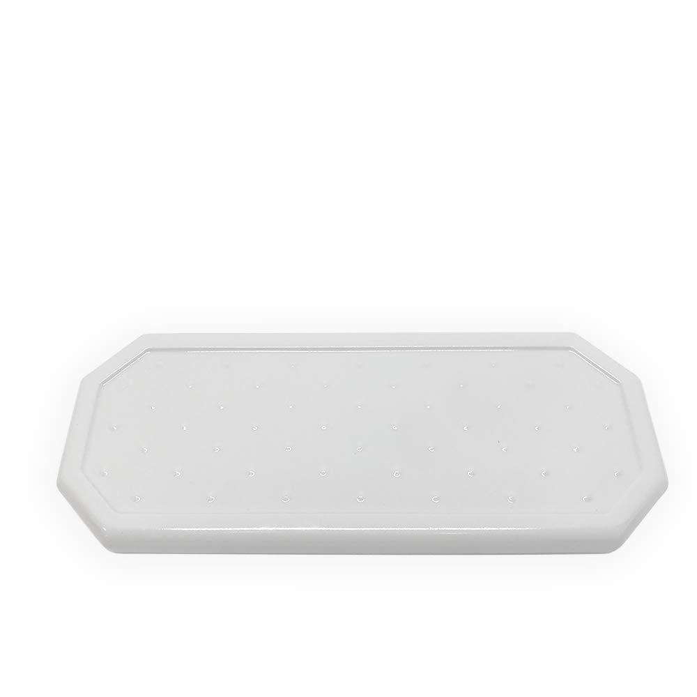 Questech Geo Small Vanity Tray Organizer | Eyeglass Tray, Jewlery Dish, Bathroom Decorative Tray (Polished White)