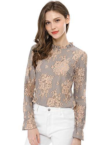 Crochet Top Floral Dress - Allegra K Women's Crochet Lace See Through Floral Ruffle Neck Blouse Purple M (US 10)