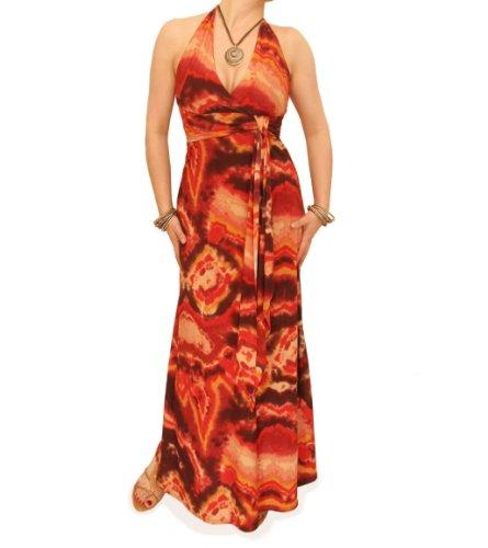 Kleid Braun Orange Maxi Neckholder und Banana Blue und Orange Braun 0aZwf44qY
