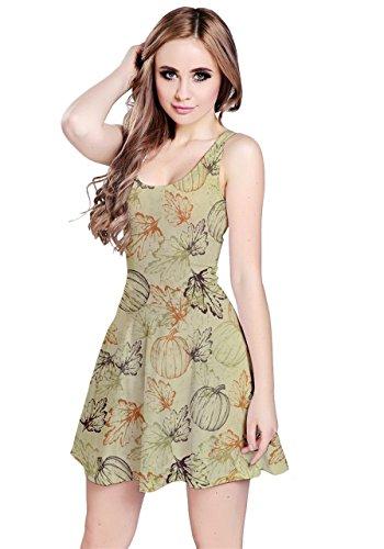 CowCow Womens Pumpkin Leaves Sleeveless Dress, Pumpkin Leaves - 5XL -