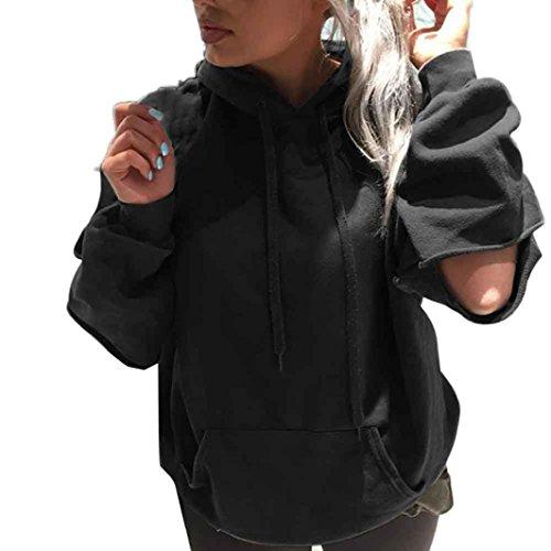 WILLTOO Womens Long Sleeve Sweatshirt Jumper Pullover Tops Coat (M, Black)