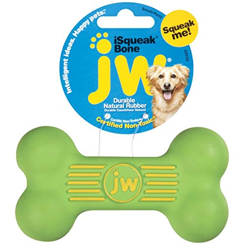 (JW Pet Company iSqueak Bone Rubber Dog Toy, Small, Colors Vary)