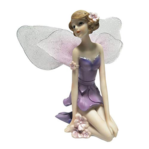 LY-Home Decor Resin Fairy Figurine with Wings Wedding Ornament Flower Fairy Statue Creative Gifts, 6 -