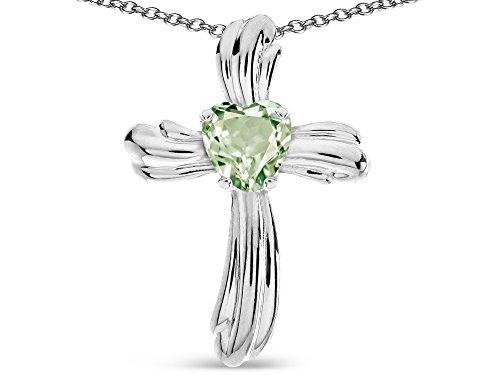 Genuine Heart Shaped Green - Star K Heart Shape 6mm Genuine Green Amethyst Ribbed Cross Of Love Pendant Necklace 10k White Gold