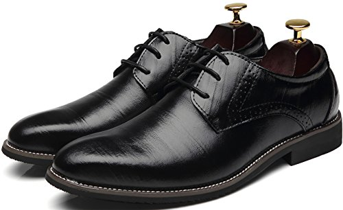 PPXID Mens Genuine Leather Lace up Dress Business Brogue Shoes Black yvxopQf