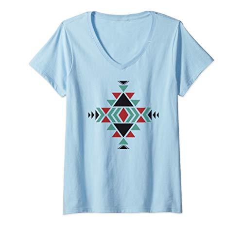 Womens Southwest Santa Fe Navajo Indian Tribal Style Pattern V-Neck ()