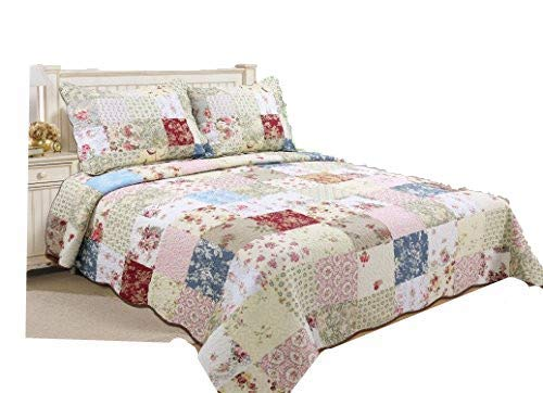 ALL FOR YOU 3-Piece 100% Soft Cotton Reversible Bedspread/Coverlet/Quilt Set- Oversize-Real Patchwork (Full/Queen) (Patchwork Quilts)