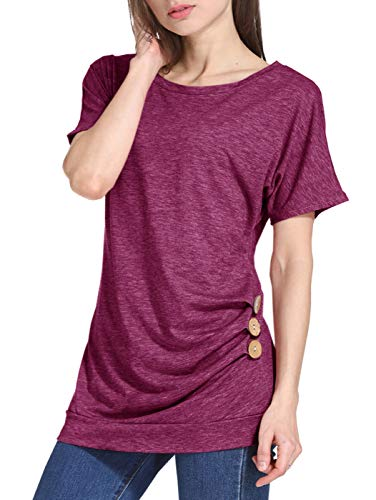 d786b81bcf1 LYXIOF Womens Casual Short Sleeve Tunic Tops Round Neck Shirts Loose Button  Blouse