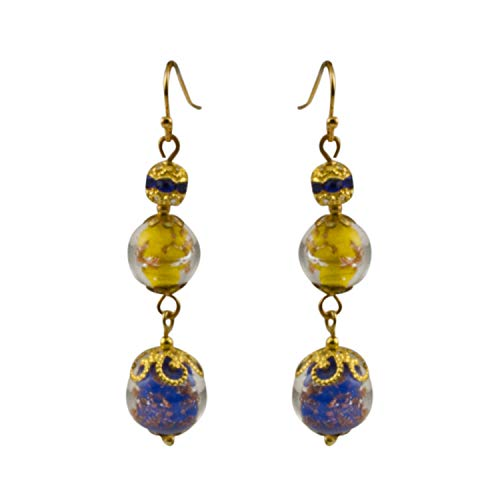 Just Give Me Jewels Genuine Venice Murano Sommerso Aventurina Blue and Yellow Glass Beads Dangle Earrings with Blue Swarovski Crystal Accented Plated Bead.