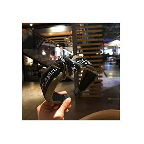Fashion Letter Lace Solid Knot Bezel Turban Girls Headwear Headband Women Hairband,dark green,Size fits ()