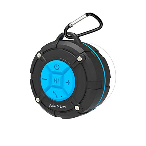 ASIYUN Shower Speaker, Waterproof Speaker with 4H Playtime, Loud HD Sound, Portable Wireless Speaker with Suction Cup & Sturdy Hook, Built-in Mic, for Shower, Pool, Beach, Outdoor(Blue)