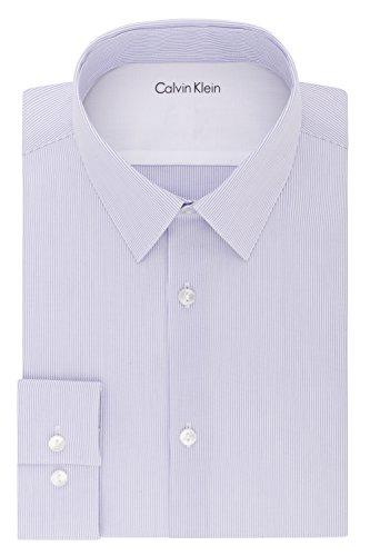 Calvin Klein Men's Thermal Stretch Xtreme Slim Fit Stripe Dress Shirt, Purple Haze, 16