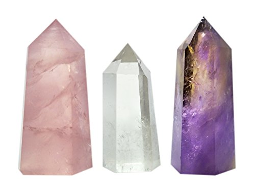 Set of 3 Healing Stone Wands of 3 Crystals, Rose Quartz, Clear Quartz, Amethyst, Pointed & Faceted Prism Bars for Reiki Chakra Meditation Therapy Deco