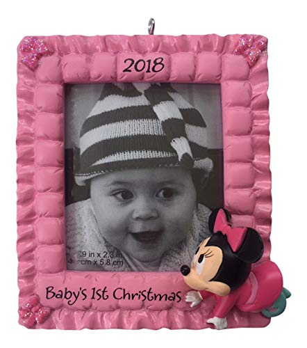 Hallmark 2018 Disney Minnie Mouse Baby's 1st Christmas Frame Ornament - Mouse Dated Ornament