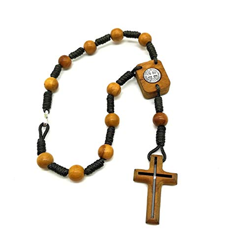 MedjugorjeStoneGifts One Decade Saint St Benedict Car Rosary, Olive Wood Prayer Beads, Rear View Mirror Charm