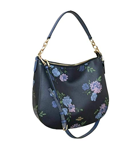 Coach Women's Elle Hobo in Signature Canvas Shoulder Bag One Size in Navy Multi, Style F72843
