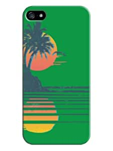 Sangu Beach Sunset Hard Back Shell Case / Cover for Iphone 5 and 5s - Green