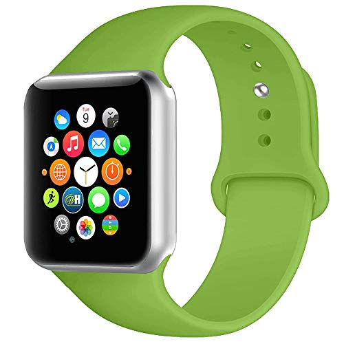 (BOTOMALL Compatible with Iwatch Band 38mm 40mm 42mm 44mm Classic Silicone Sport Replacement Strap Bracelet for Iwatch All Models Series 4 Series 3 Series 2 1 (Green,42/44mm S/M))