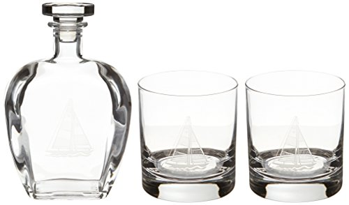 Rolf Glass Etched Sailboat Decanter and On The Rocks Glass Set, Clear