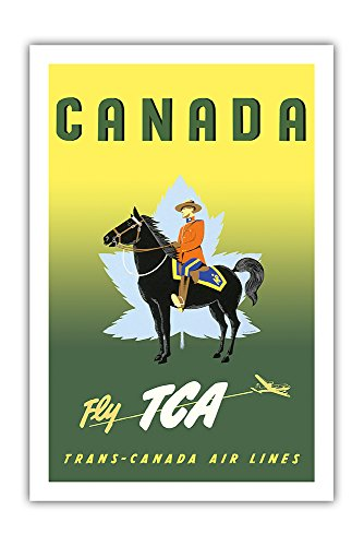 (Canada - Fly TCA (Trans-Canada Air Lines) - Royal Canadian Mounted Police on Horseback - Vintage Airline Travel Poster by Jacques Le Flaguais c.1953 - Premium 290gsm Giclée Art Print - 24in x 36in)