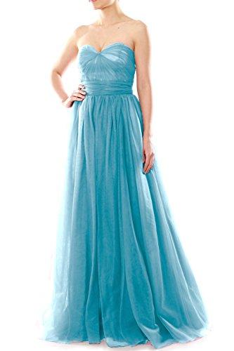 MACloth Convertible Tulle Long Aqua Dress Party Women Sweetheart Wedding Bridesmaid P77SqFxwa