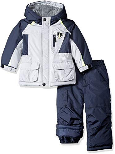 London Fog Boys' Little Ski Jacket & Ski Pant 2-Piece Snowsuit, Real Gray, 7 (Best Cheap Snow Jackets)