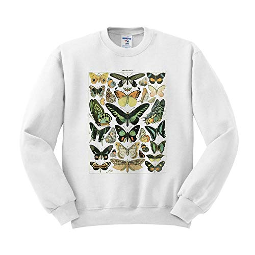 Papillons Chart Sweatshirt Unisex Small White (Butterfly Sweatshirt)