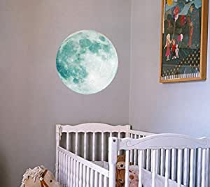 30cm Glow in the Dark Moon Night Luminous Stickers Removable Adhesive Wall Decal