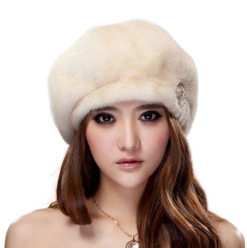 URSFUR Ladier Mink Full Fur Beret Hats (Pearl)