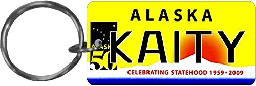 (Personalized Alaska 50 State Replica License Plate Keychain)