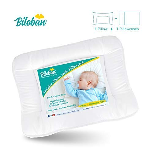 Baby Toddler Pillow for Sleeping with Pillowcase (13 x 18),Hypoallergenic Baby Toddler 's Flat Pillows,Soft and Safe Travel Pillow Fits Mini Crib or Crib