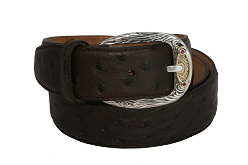 Belt by Urso Luxury buckle in Sterling silver, gold 18kt and rubins belt in Ostrich Skin by Urso Luxury