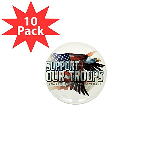 Mini Button (10 Pack) Support Our Troops US Flag Eagle (Troops Button)